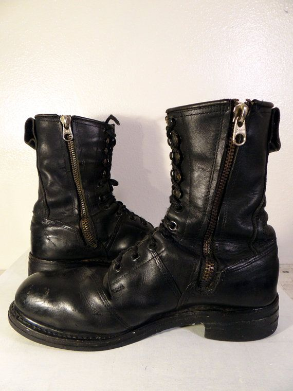 Vintage Mens Leather Military Jump Boot Size 12 - 12.5 - Black ...