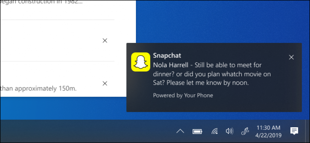 Windows 10's Your Phone App Gets Android Notification