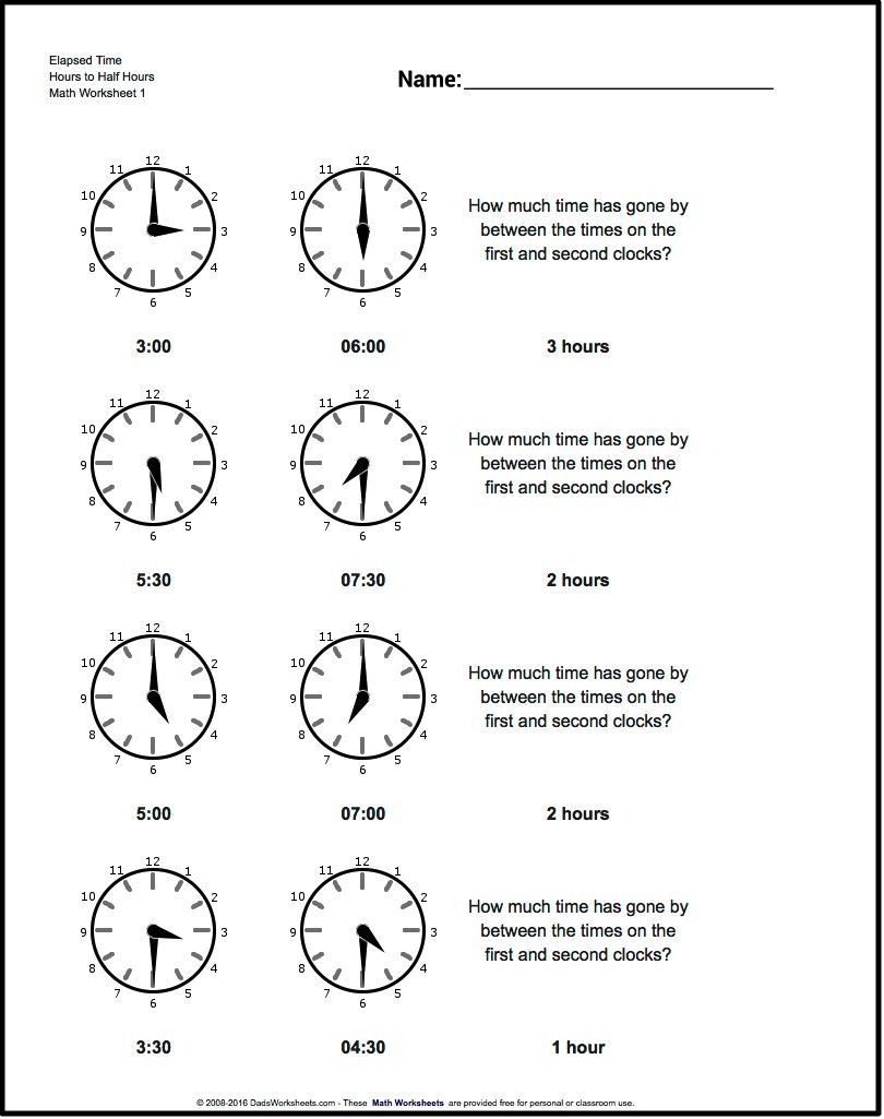 hight resolution of Start From Half Hours Analog Elapsed Time Worksheet! Start From Half Hours    Elapsed time worksheets