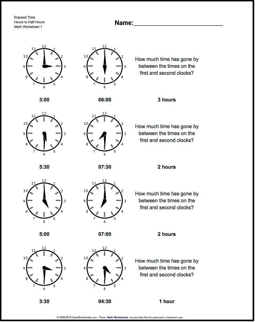 medium resolution of Start From Half Hours Analog Elapsed Time Worksheet! Start From Half Hours    Elapsed time worksheets