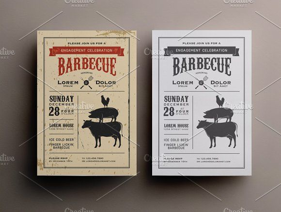 Bbq Invitation Template By Baranov On Creativemarket  Cards And