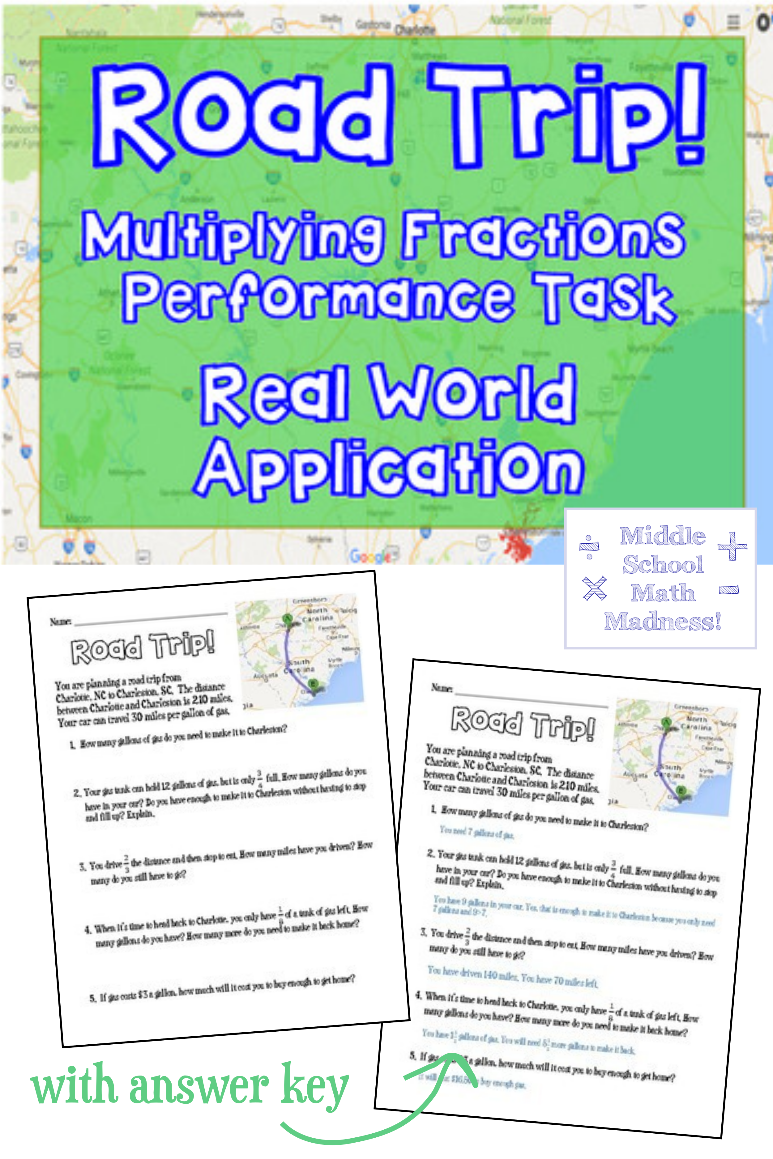 Multiplying Fractions Road Trip Performance Task Real