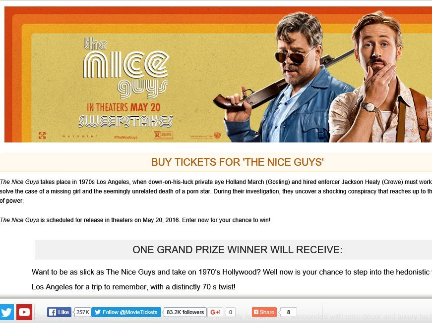"""Enter the MovieTickets.com's """"The Nice Guys"""" Sweepstakes for a chance to win a 4-night trip for two to Los Angeles, CA!"""