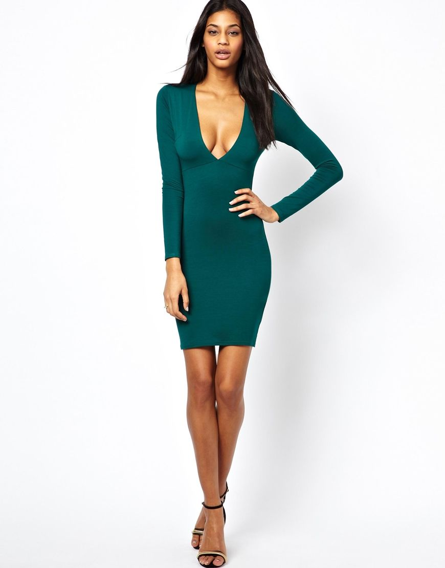 ASOS Deep Plunge Long Sleeve Bodycon Dress | Fashion models | Long ...