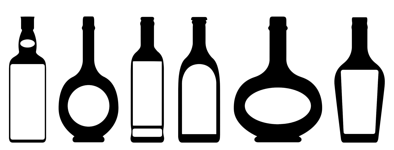 liquor bottle with cut out labels not black and white though rh pinterest com Glass Bottle Clip Art Alcohol Art