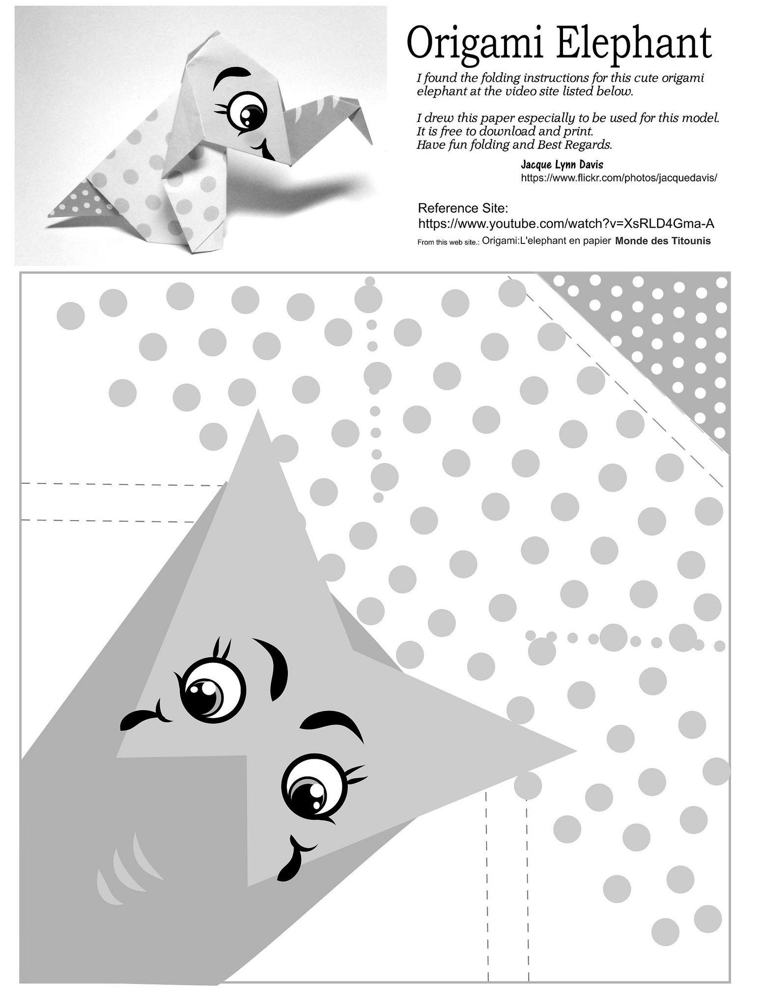 Origami Elephant Paper BW