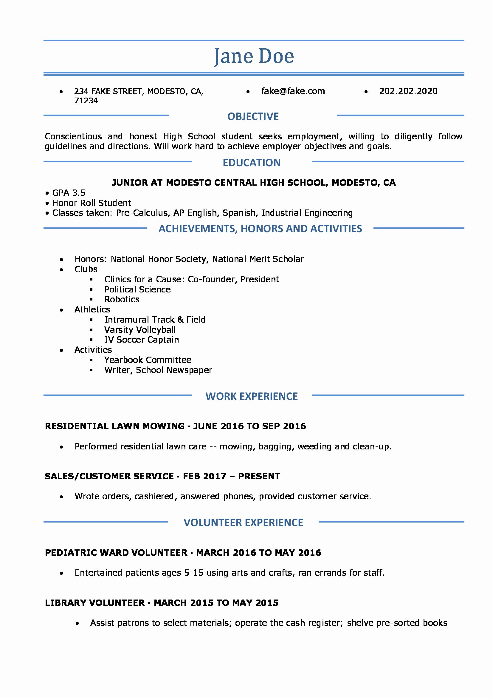 Resumes for High School Students Luxury High School Resume