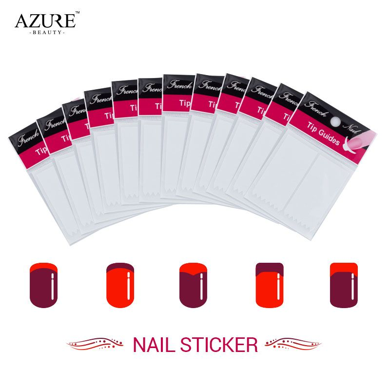 Azure Beauty 12Pcs/lot Nails Sticker Tips Guide French Manicure Nail ...