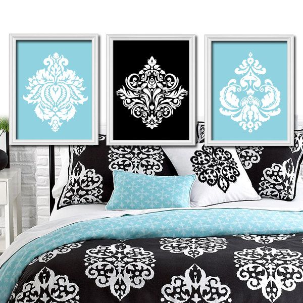 bedroom black white silver blue - Google Search