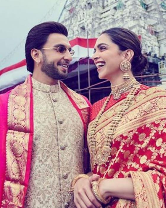Deepika Padukone Ranveer Singh On Their First Wedding Anniversary Visit Venkateshwara Temple In Tirumala Weddinganniversary