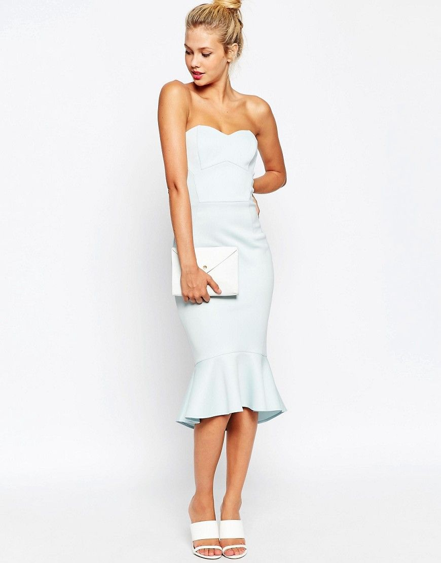 Maxi dresses to wear to a wedding  Image  of ASOS Pephem Bandeau Midi Dress  hair  Pinterest  Midi