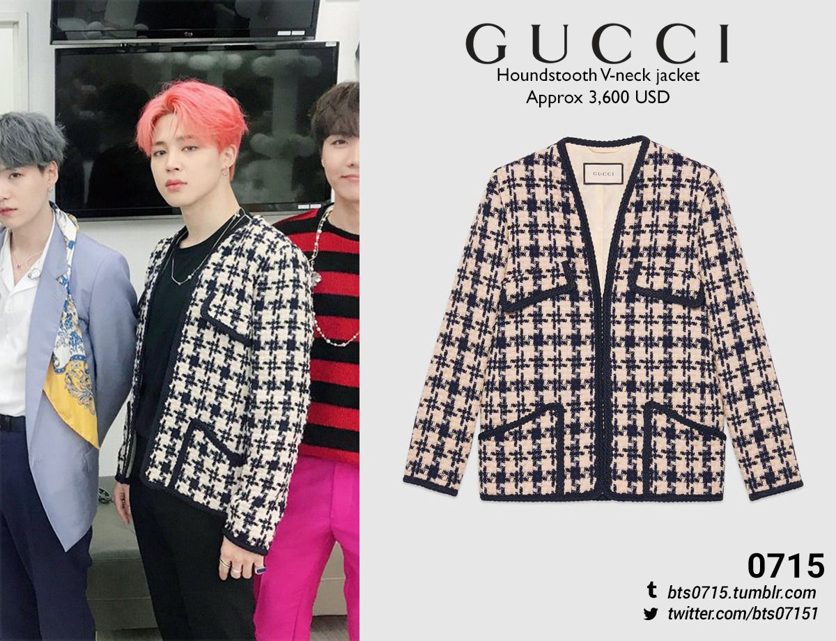 190421 Jimin Inkigayo Gucci Houndstooth V Neck Jacket X Bts Inspired Outfits Bts Clothing Kpop Fashion Outfits