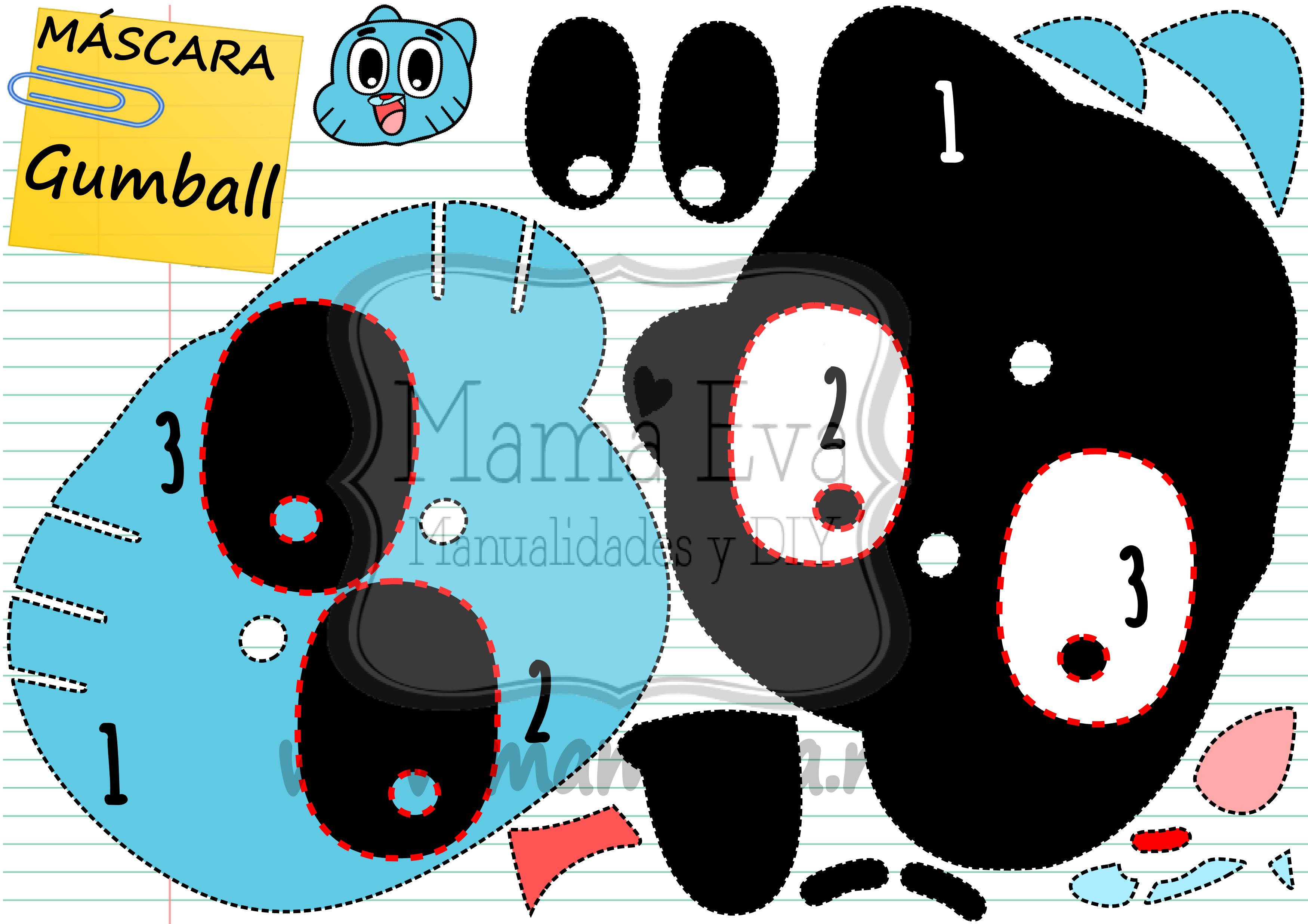 Si yo tuviera siete años, querría que mi madre o mi padre hicieran conmigo esta máscara de Gumball! www.mamaeva.net