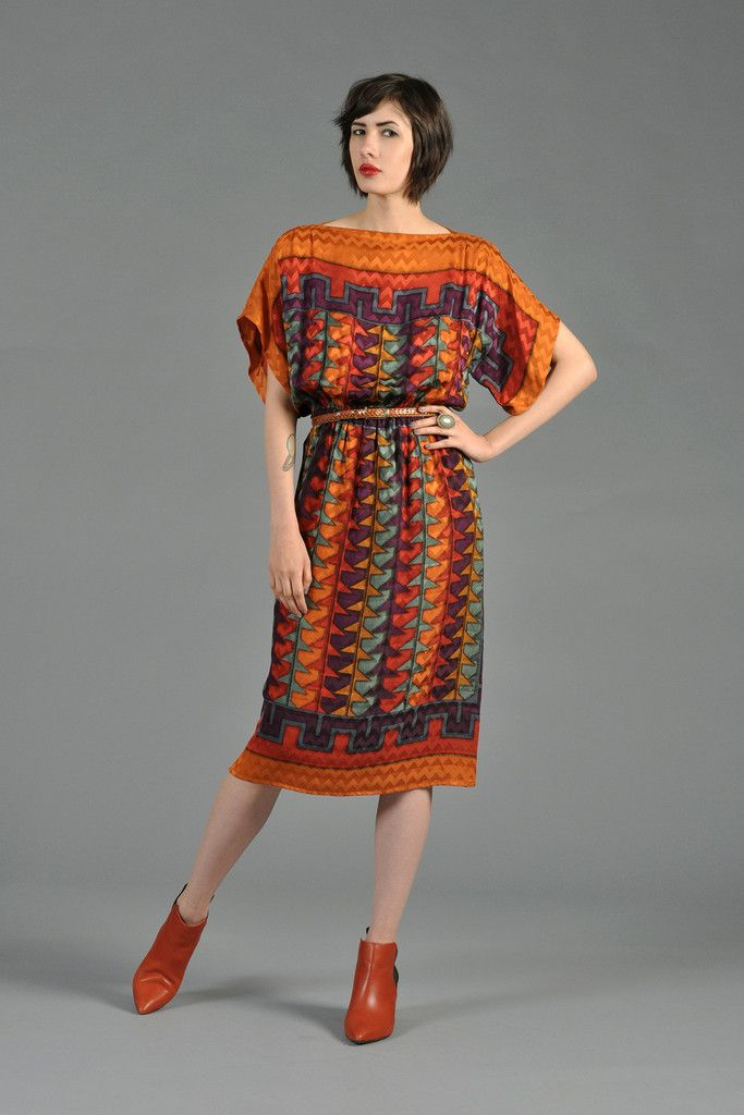 Southwest Inspired Silk Ethnic Dress With Kimono Sleeves