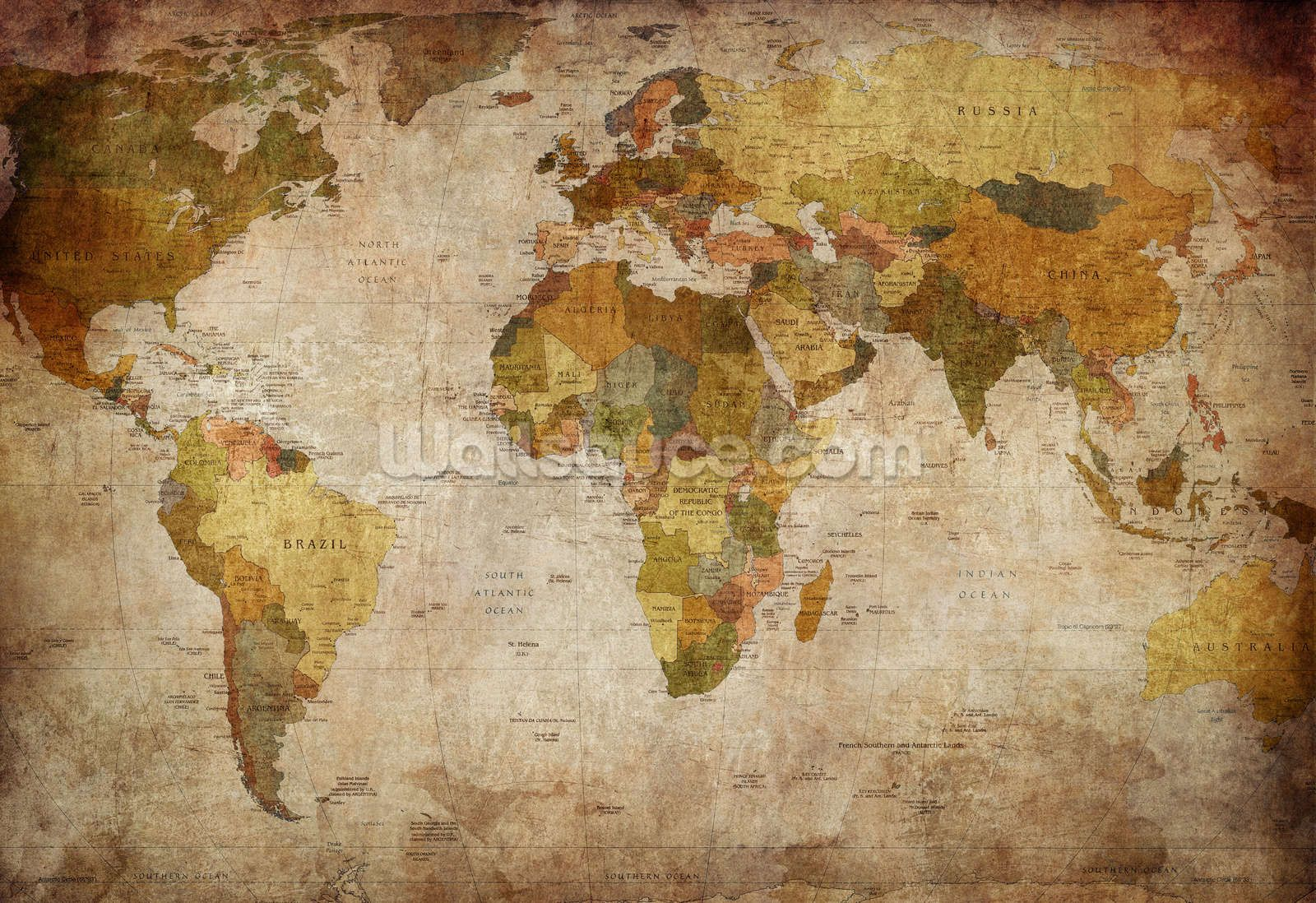 Old Style World Map Wallpaper Wallsauce Us Map Wall Mural