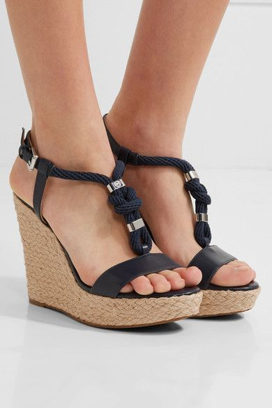 ec914f857d59 MICHAEL Michael Kors - Holly Rope-trimmed Leather Wedge Sandals - Storm  blue - US8