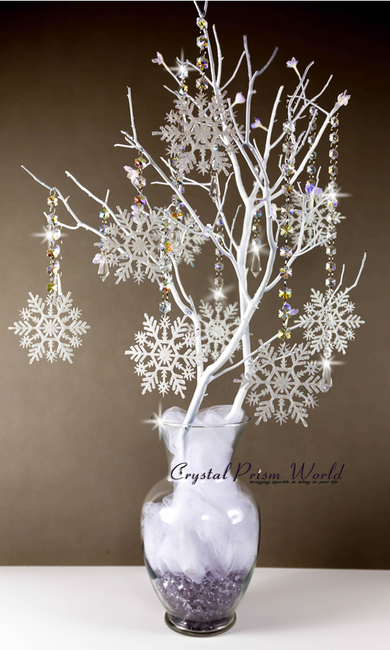 Centerpiece Using Snowflake Crystal Garland Chain Strands