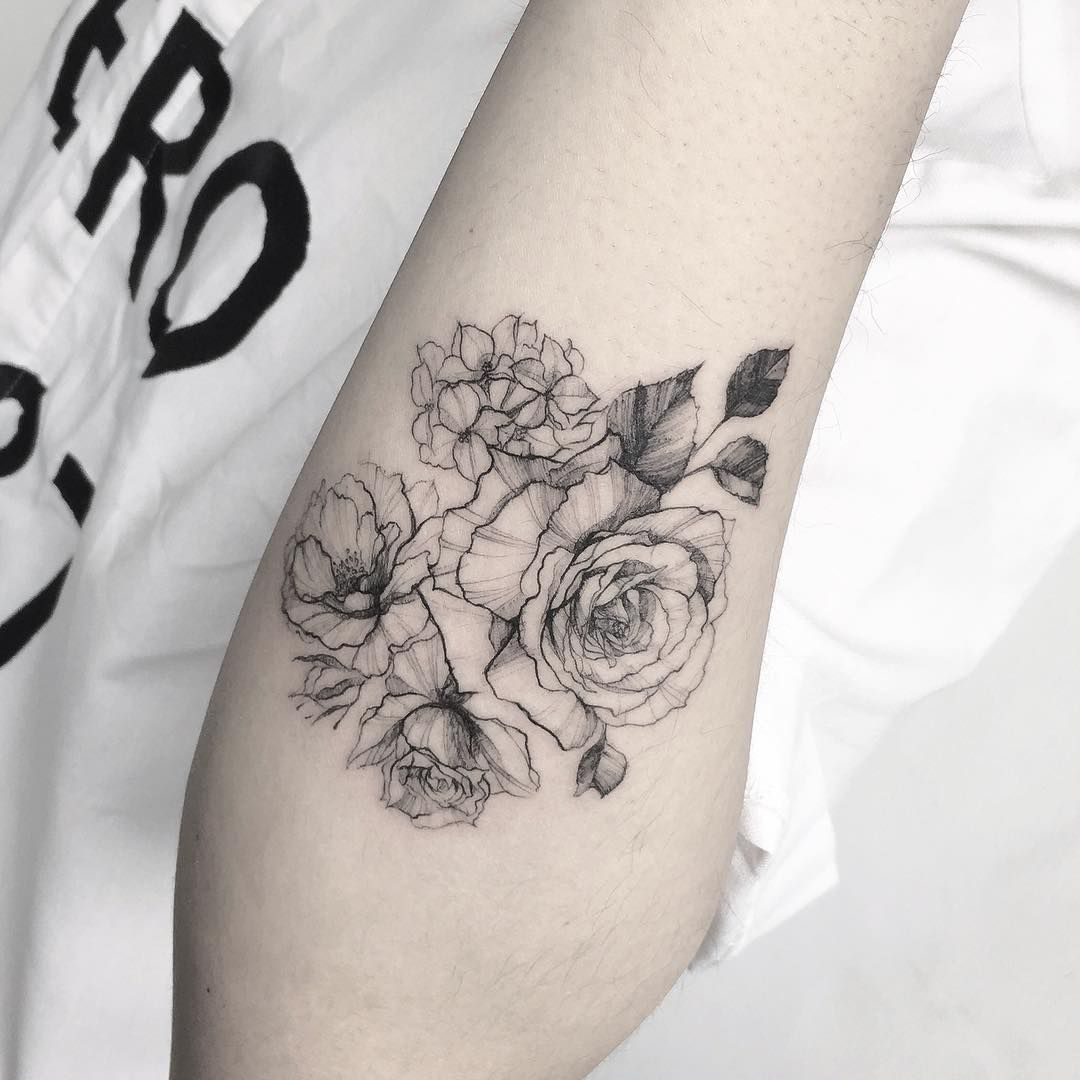 bed561fb5 Floral Line Work Tattoo … | Tattoo ideas | Rose …