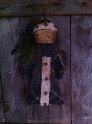 Primitive Folk ARt Vintage Wool Snowman Doll Grey Christmas Farmhouse