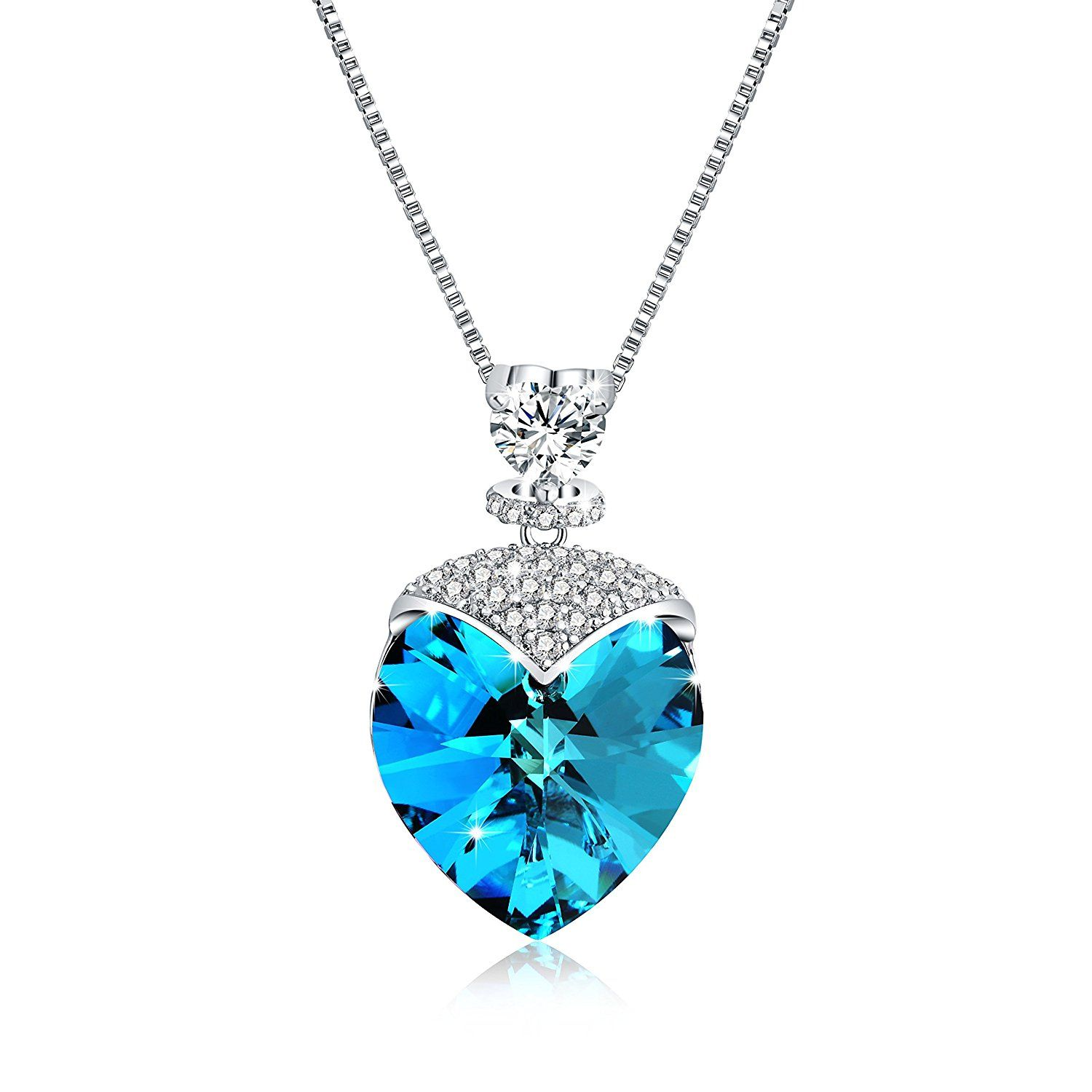 Osiana womenus necklace with swarovski crystal wing heart star