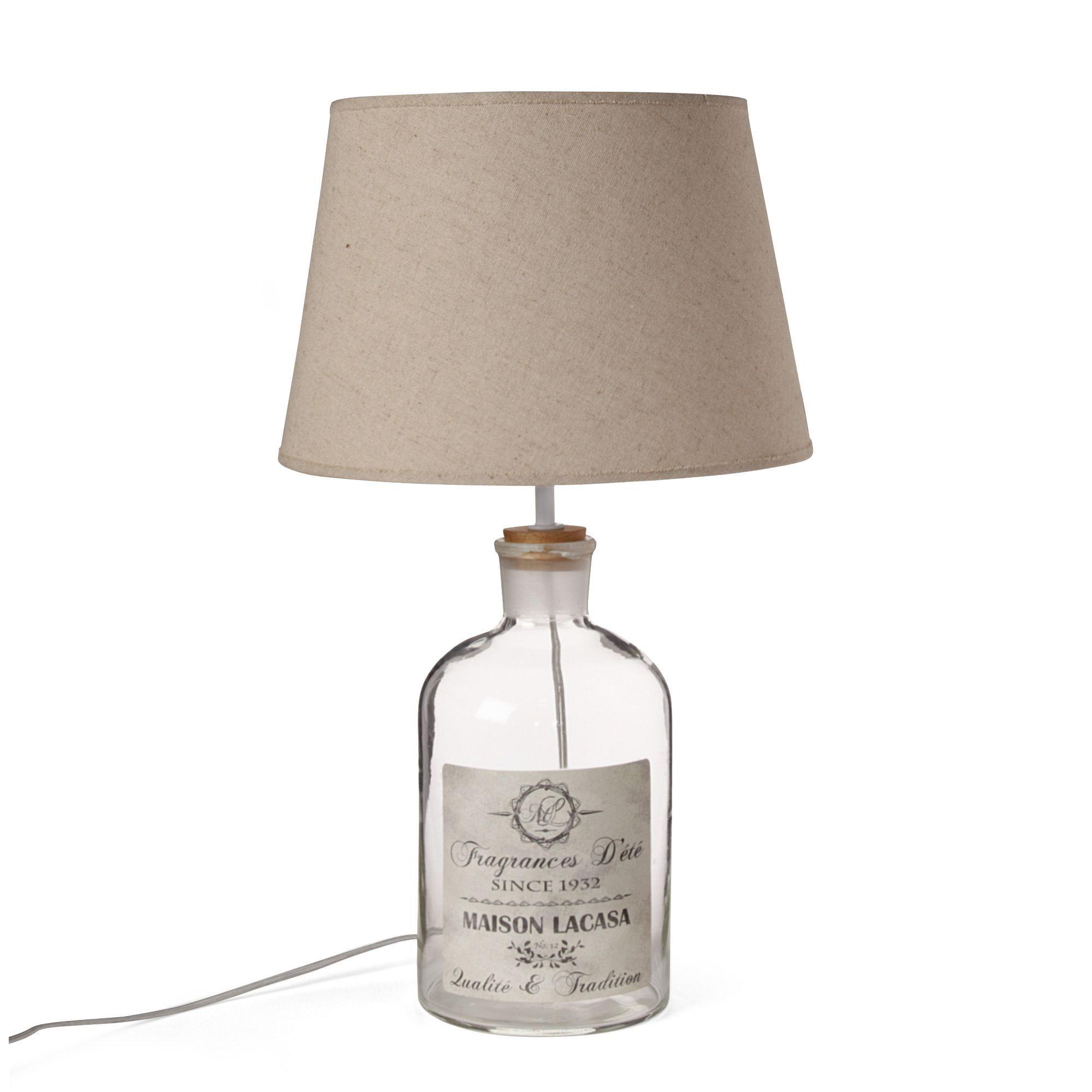 alinea PE2014 Lampe avec abat jour H52cm Transparent Beige