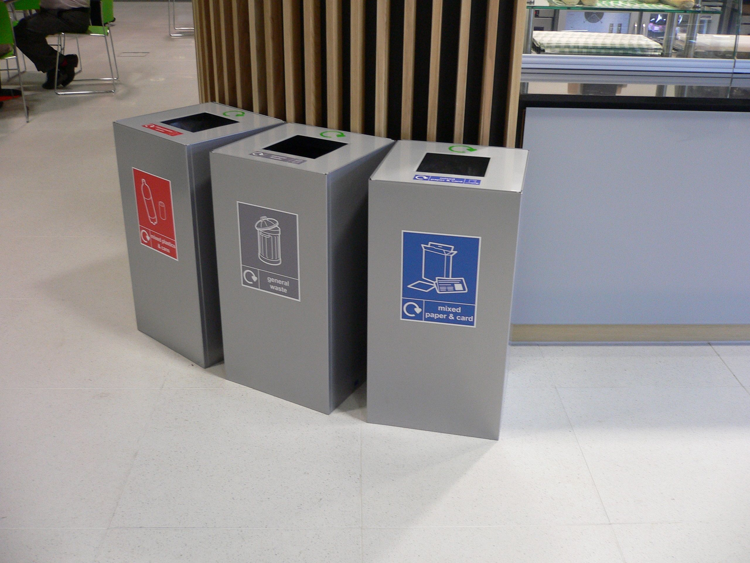 Attractive Office Recycling Bins Sorting 100 Litre Square