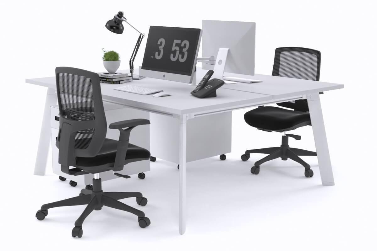 Switch 2 Person Workstation White Frame 1800l X 800w Office Workstations Mesh Office Chair Work Station Desk