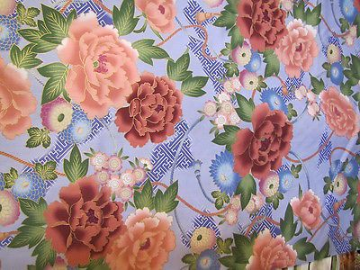 1 Yard Lavender With Large Peonies Flowers Kona Bay Cotton Fabric