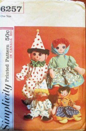 Vintage 1960\'s Primitive Stuffed Clown Rag Doll Toy Pattern ...