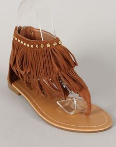 Women's Brown Fringe Sandals