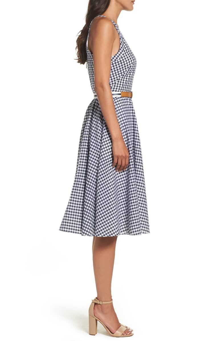 1550b05f9f Eliza J Belted Halter Fit   Flare Dress