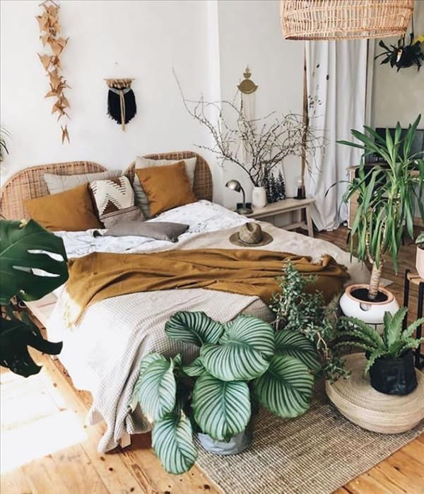 Green Plants Home Decor Ideas Create The Most Pleasant Home Fashionsum Bohemian Style Bedrooms Home Decor Bedroom Design Green nature bedroom ideas