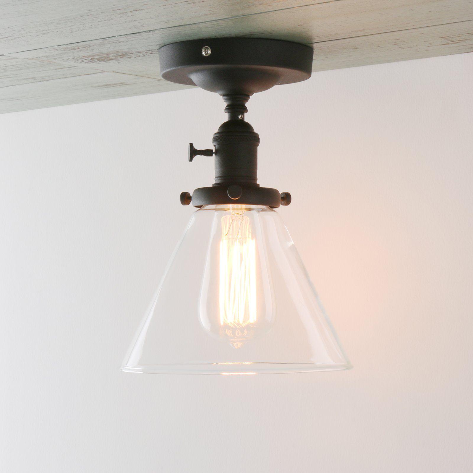 Permo Vintage Industrial Semi Flush Mount Ceiling Light Fixture Pendant Lig Flush Mount Ceiling Lights Flush Mount Ceiling Light Fixtures Bedroom Ceiling Light