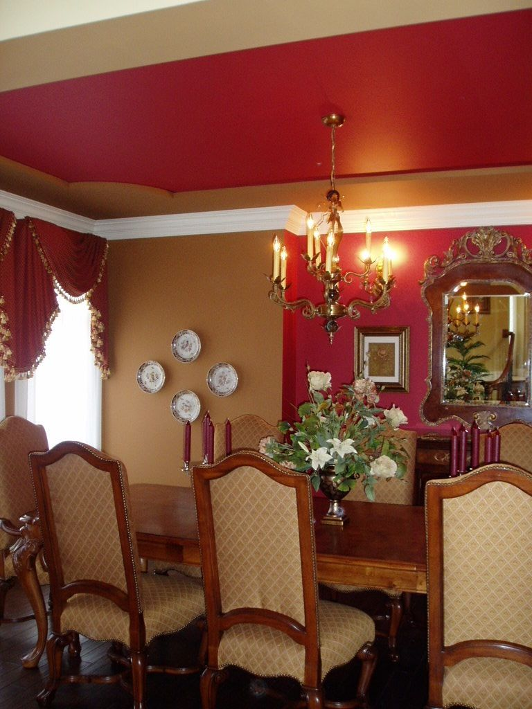 Tray Ceiling Red Gold Room Royal Dining Room Tray Ceilings, Gold Rooms, Red  Gold