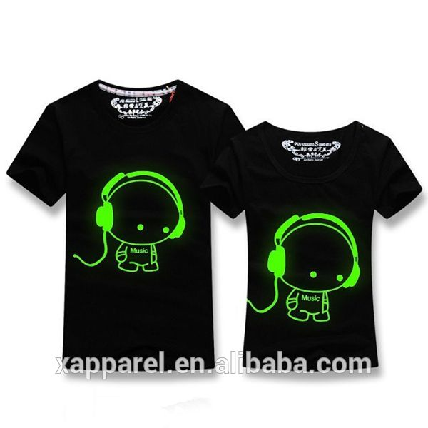 Fashion New Design Couple Lover T Shirts Glow In The Dark T Shirt Photo Detailed About Fashion New Design Couple T Shirt Picture Printed Shirts T Shirt Photo