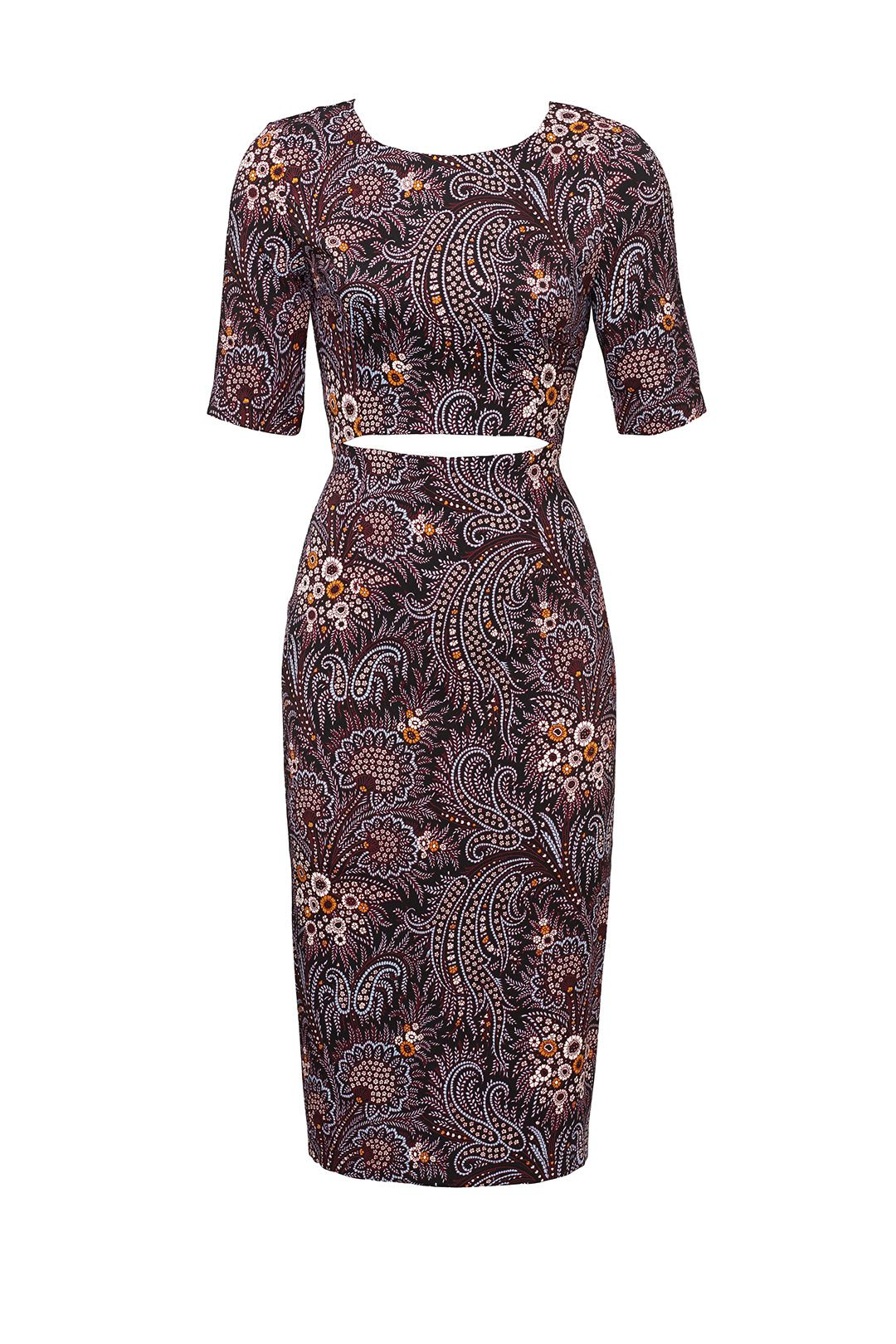 Paisley wine cut out dress designers clothes and shopping