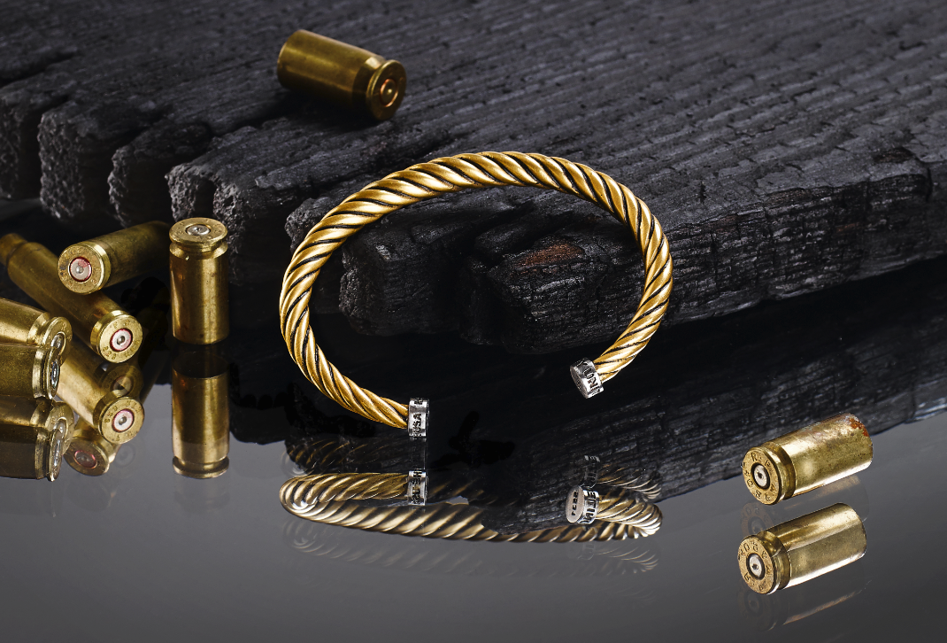 Torc Bracelets By Armani Exchange For Liberty United Incorporate Melted Down Bullet Shell Casings And Gunmetal Of Il Armani Exchange Armani Outfit Accessories