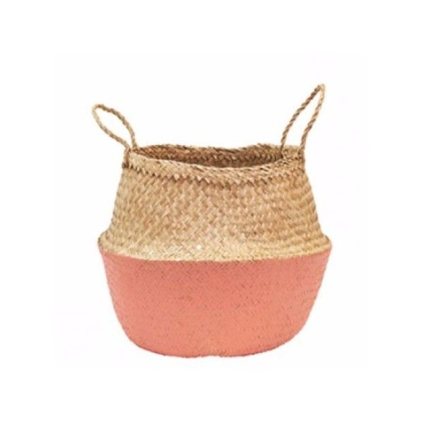 Olli Ella Coral Dipped Belly Basket ($41) ❤ liked on Polyvore featuring home, kitchen & dining and round storage basket
