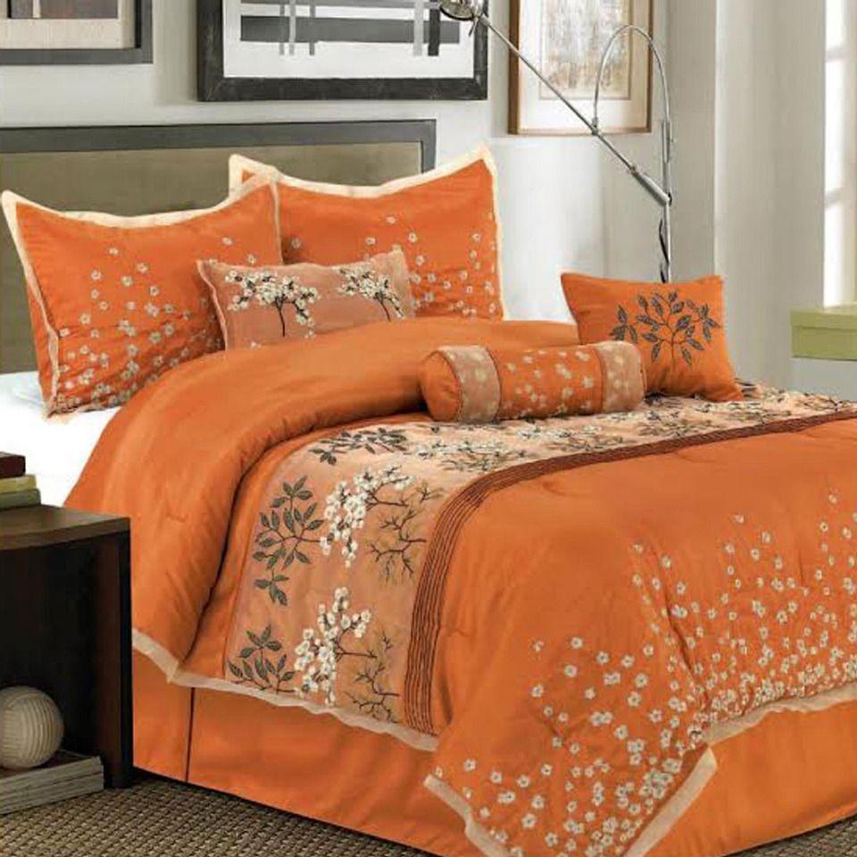 7Piece Cherry Blossom Comforter Set in Orange Beyond