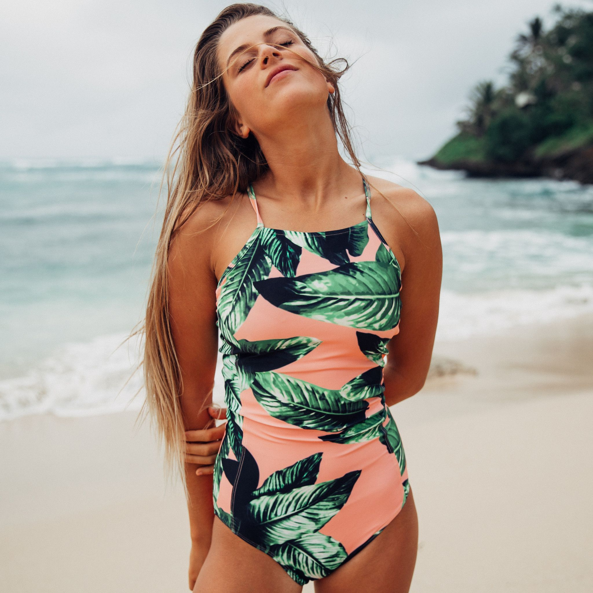 Womens One Piece Bikini Monokini Padded Swimwear Swimsuit Tropical Bathing Suit