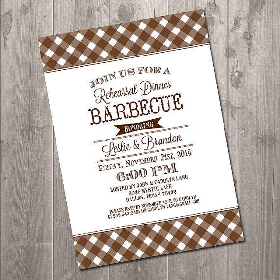 backyard barbeque rehearsal dinner invitation