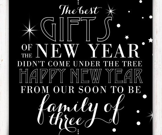 New Years Eve Pregnancy Announcement Printable Announcement Card