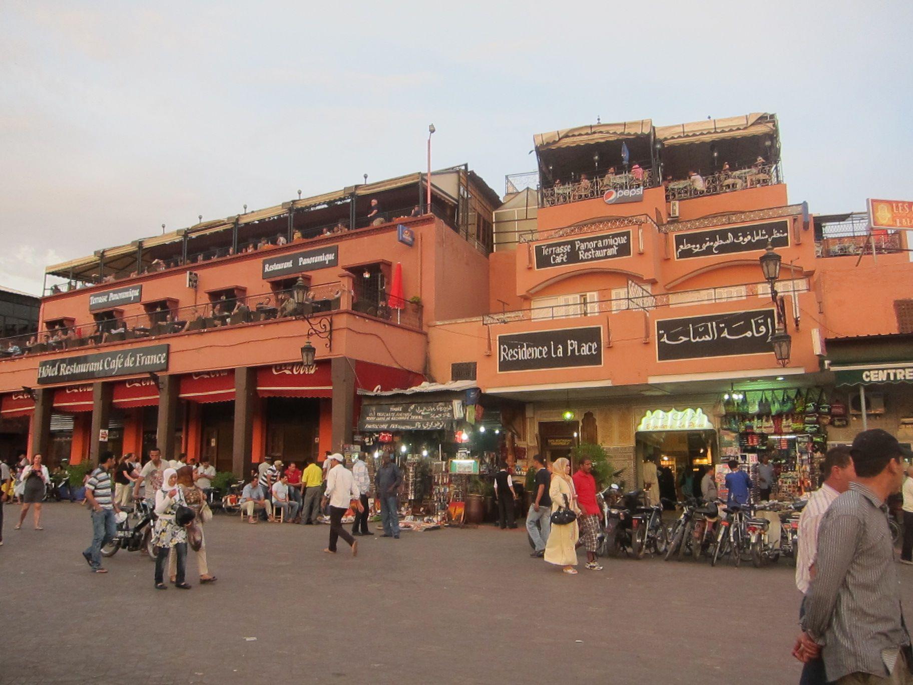 The Famous Cafe De France Lines Jemaa El Fna Square In