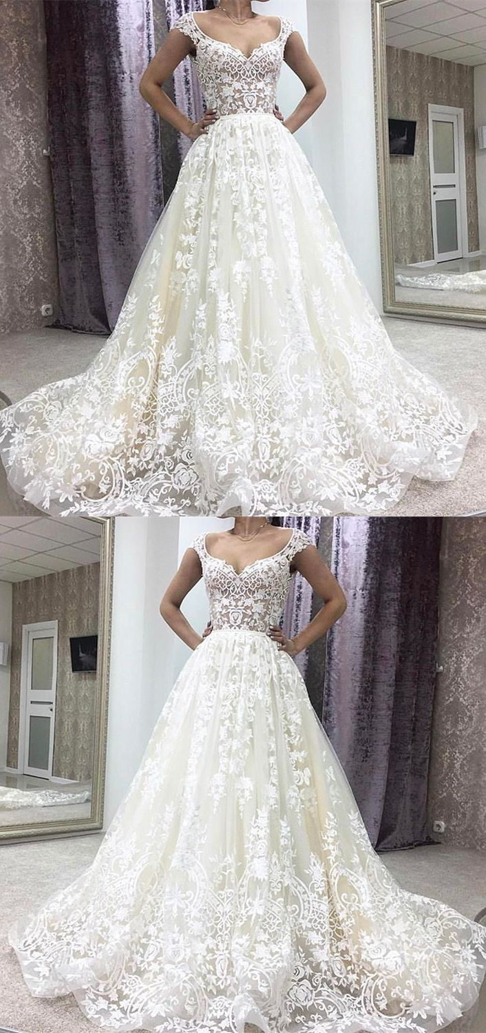 Aline deep vneck court train sleeveless ivory lace wedding dress