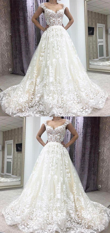 Aline deep vneck court train sleeveless ivory lace wedding dress
