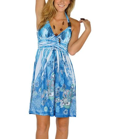 Another great find on #zulily! Blue Sublimation Halter Dress - Women #zulilyfinds              18.99