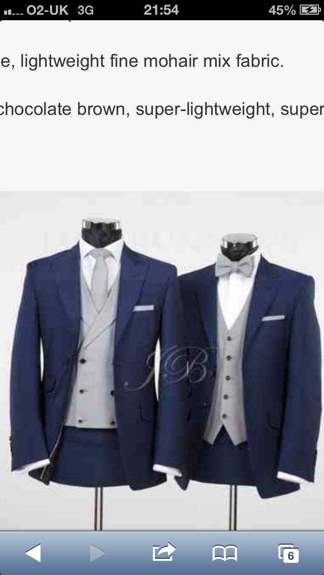 Navy grooms suit with grey waistcoat and tie! would be perfect as ...