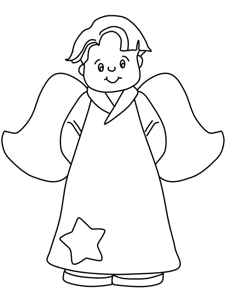 Angel Coloring Pages For Preschool : angel, coloring, pages, preschool, Collection, Angel, Coloring, Pages, Pages,, Christmas, Angels,