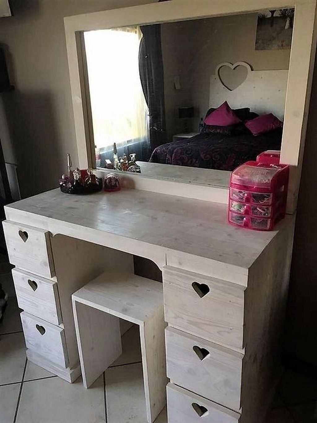 Fineboard Three Mirror Vanity Dressing Table Set with
