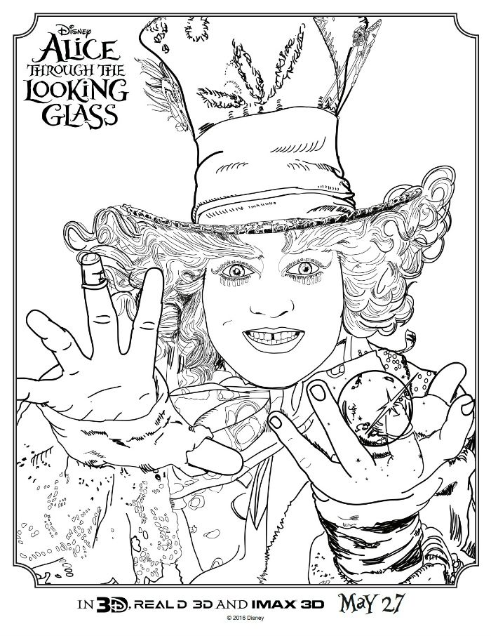 Alice Through The Looking Glass Hatter Coloring Page | fairy tale ...
